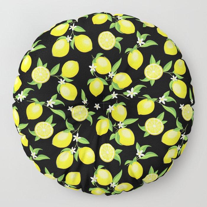 You're the Zest - Lemons on Black Floor Pillow