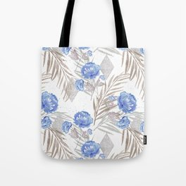 Blue flowers on a white background. Tote Bag