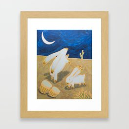 Bongo Bunnies Dancing in the Moonlight Framed Art Print