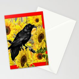 RAVEN & SUNFLOWERS FIELDS  RED ART Stationery Cards