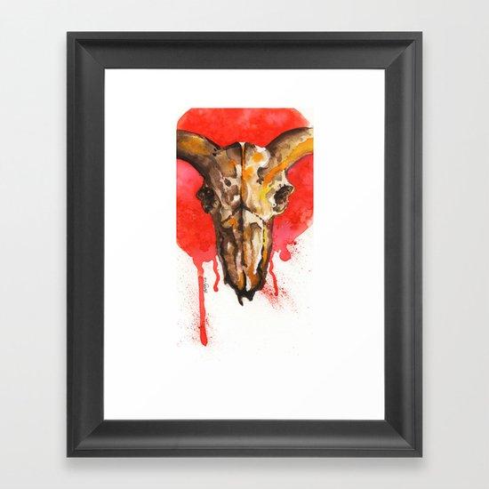 red moon skull Framed Art Print