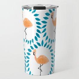 Flamingo and Leaves Travel Mug