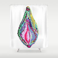 vagina Shower Curtains featuring SHOW HOW TO LOVE ME, PIXEL by Mommy Desey