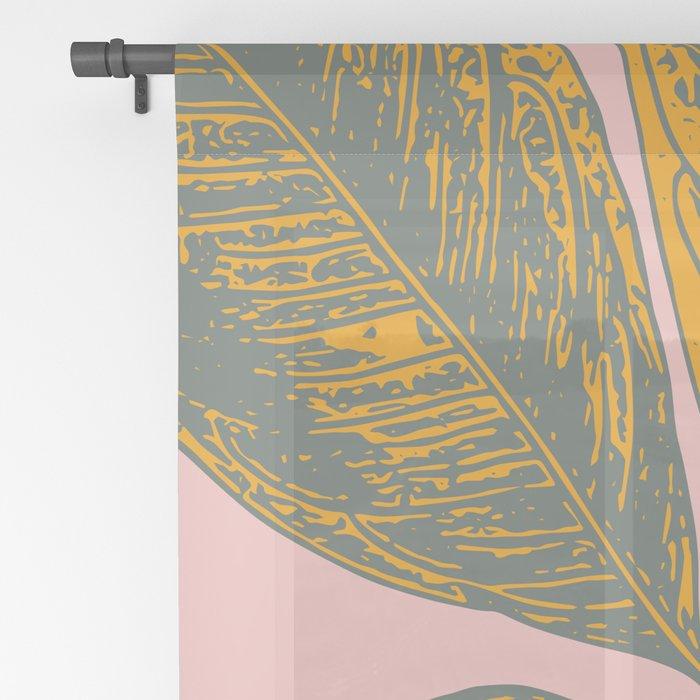 Modern Botanical Banana Leaf Sheer Curtain