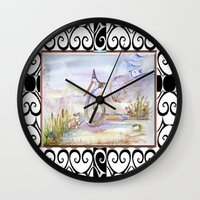 swan queen Wall Clocks featuring Swan by CrismanArt