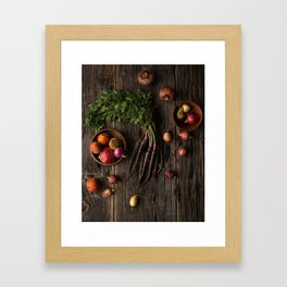 Root Vegetables on Rustic Wood Framed Art Print