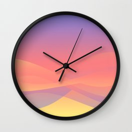 Pastel Gradient Ombre Pink, Purple, Yellow Whimsical Wavy Lines Wall Clock