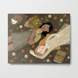 girls in grass Metal Print