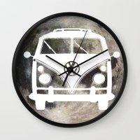 volkswagon Wall Clocks featuring Moon Wagon by Isaak_Rodriguez