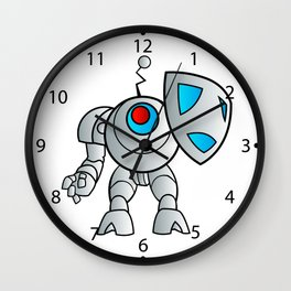 robot with a shield Wall Clock