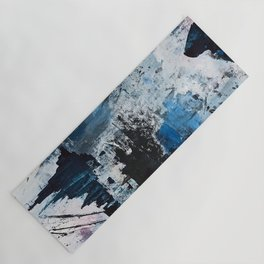 Breathe: colorful abstract in black, blue, purple, gold and white Yoga Mat