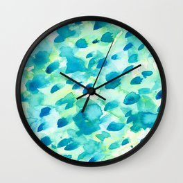 Blue, Green and Aqua Abstract Watercolor Painted Spots Wall Clock