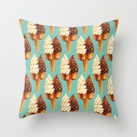 novelty Throw Pillows featuring Ice Cream Pattern - Teal by Kelly Gilleran