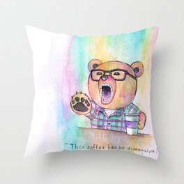 Snobby Hipster Coffee Bear Throw Pillow