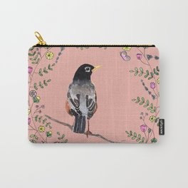 American Robin with Flower Wreath1 Carry-All Pouch
