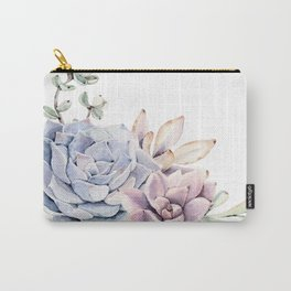 Pristine Succulents Blue and Pink Carry-All Pouch
