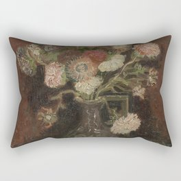 Vase with Chinese Asters and Gladioli Rectangular Pillow