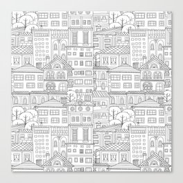Doodle town pattern Canvas Print