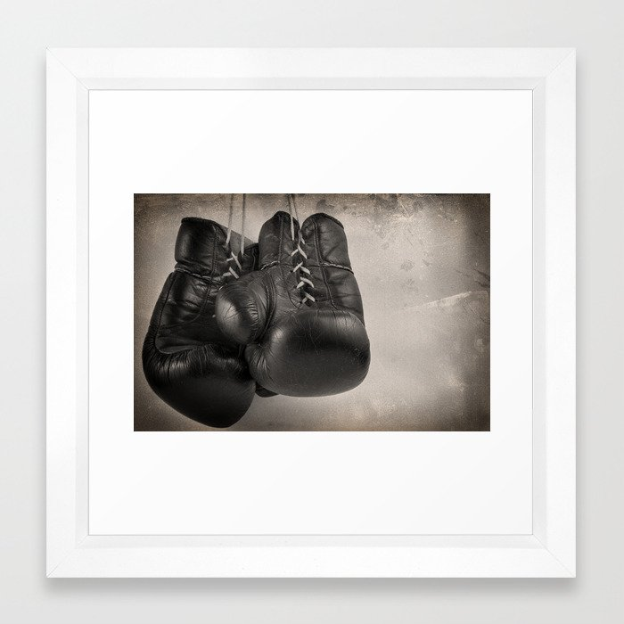 Boxing Gloves black and white Framed Art Print by dimodesigns | Society6