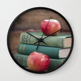 Books and Apples- Fall Reading Wall Clock