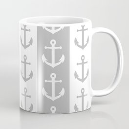 Nautical Sailor Stripes with Anchor Pattern Gray 241 Coffee Mug