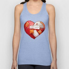 Heart with patches. Valentines day illustration. Unisex Tank Top