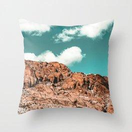 Vintage Red Boulder // Desert Rocks Teal Blue Sky Canyon Landscape Wilderness Nature Scene Throw Pillow