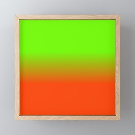 Neon Green and Neon Orange Ombré  Shade Color Fade Framed Mini Art Print