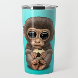 Cute Baby Monkey With Football Soccer Ball Travel Mug