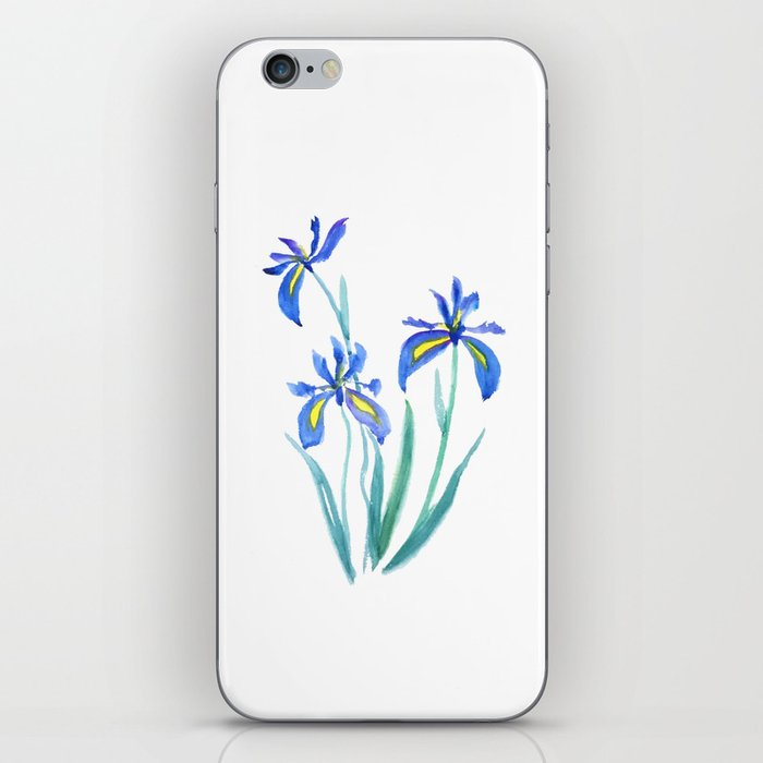 blue iris watercolor iPhone Skin