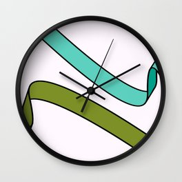 Green and Turquoise Ribbons Wall Clock