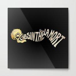 L'absinthe C'est La Mort (Absinthe is Death) Vintage Skull Poster, Oil Paint for Wall Art, Prints, Posters, Tshirts, Men, Women, Kids Metal Print