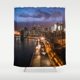 NYC FDR Drive Twilight Shower Curtain