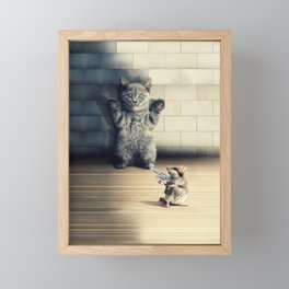 Funny Cat Scared Of A Mouse With Firearm Framed Mini Art Print