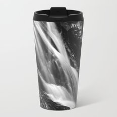 Black and white waterfall in Hell Gorge, Slovenia Metal Travel Mug