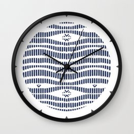 Indigo Pattern - Indigo / Navy & White Wall Clock