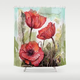 Red poppies 3 Shower Curtain