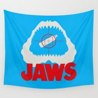 jaws Wall Tapestries featuring Jaws minimal by Buby87
