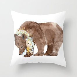 Bear with flower boa Throw Pillow