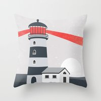 lighthouse Throw Pillows featuring Lighthouse by Mila Spasova