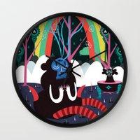 alone Wall Clocks featuring alone by Evren Yılmaz