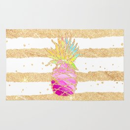 Modern pink watercolor pineapple faux gold glitter stripes Rug