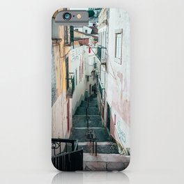 Narrow street and staircase in Alfama | Lisbon Portugal iPhone Case