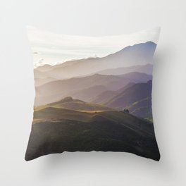 Hills in the sunset mist - New Zealand Throw Pillow