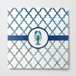 Lobster: Tropical Water Moroccan Pattern Metal Print
