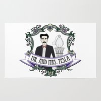 tesla Area & Throw Rugs featuring Mr. And Mrs. Tesla by FakeScience