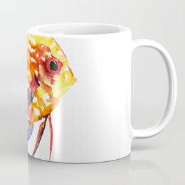 Rainbow Colored Yellow Red Orange Blue Discus, cute fish Coffee Mug