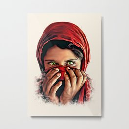 Afghan Girl with Beautiful Eyes Metal Print