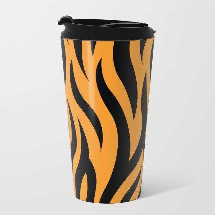 Tiger Stripes Pattern - Orange, Black Metal Travel Mug