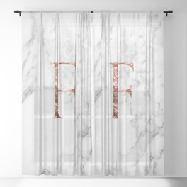 Monogram rose gold marble F Sheer Curtain
